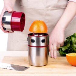 Portable Stainless Steel Orange Juicer Blender Manual Lid Rotation Citrus Juicer Orange Juice Squeezer Blender Bottle