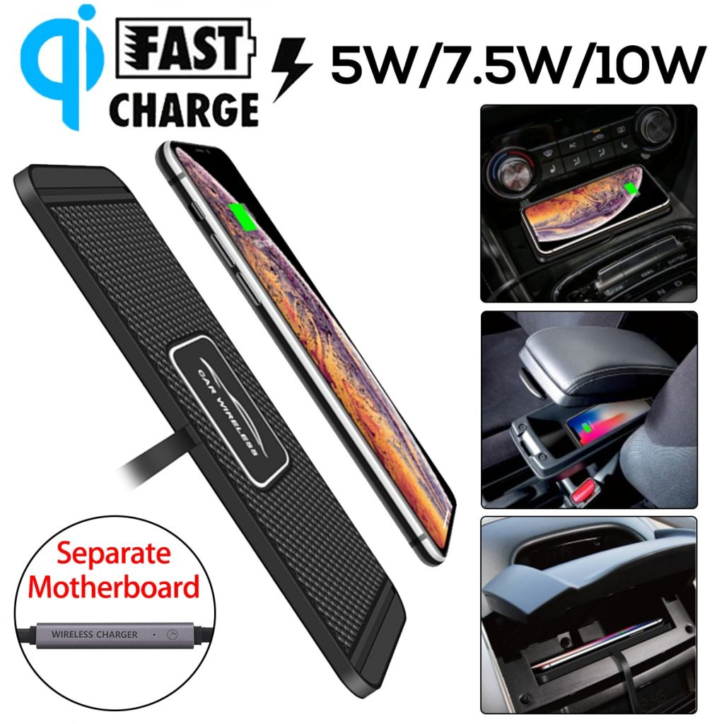 5W/7.5W/10W C1 Car Qi Wireless Charger Pad Fast Charging Dock Station Non-slip Mat Car Dashboard Holder Stand for iPhone X R