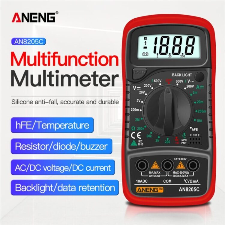 ANENG AN8205C Digital Multimeter AC/DC Ammeter Volt Ohm Tester Meter Multimetro With Thermocouple LCD Backlight Portable